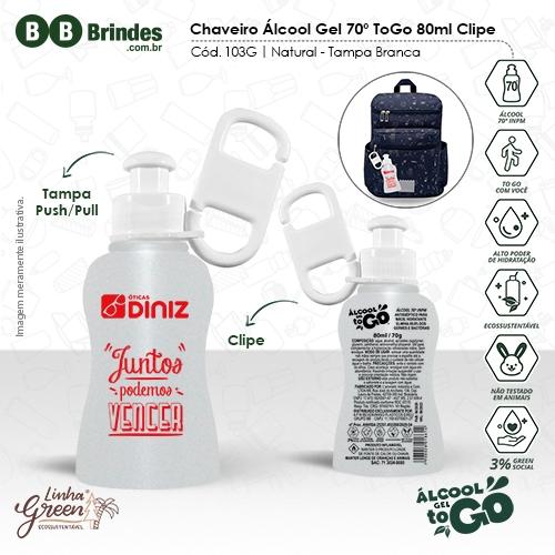 Chaveiro Álcool Gel 70 ToGo 80ml com clipe