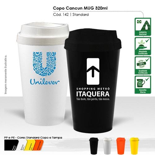 Copo para Viagem de 320ml, ideal para conservar a bebida quente ou gelada.