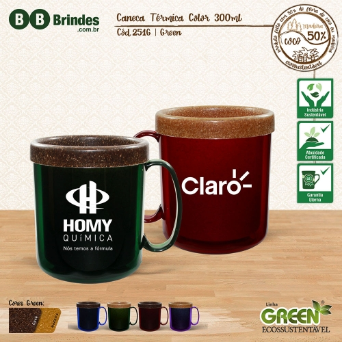 Caneca TÉRMICA COLOR GREEN 300mL