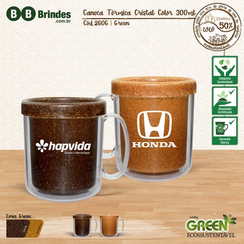 Caneca TÉRMICA CRISTAL COLOR GREEN 300mL