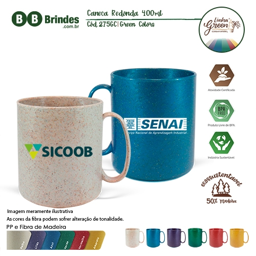 Caneca Redonda Green Colors 400ml
