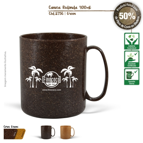 Caneca Redonda Ecológica de Fibra de Coco ou Madeira 400ml