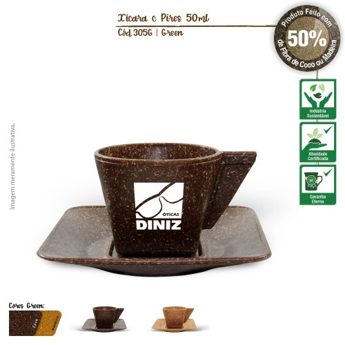 Xícara de Café com Píres Ecológica 50ml de fibras da casca do coco ou de resíduos de madeira