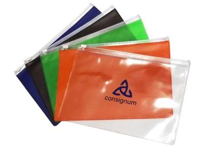 Pasta zip zap em PVC transparente ou colorido, espessura 0,20 mm tamanho 15,5 X 22,5 cm