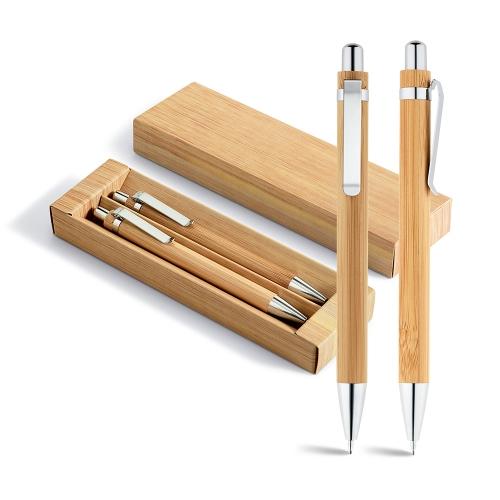 Kit caneta e lapiseira bambu