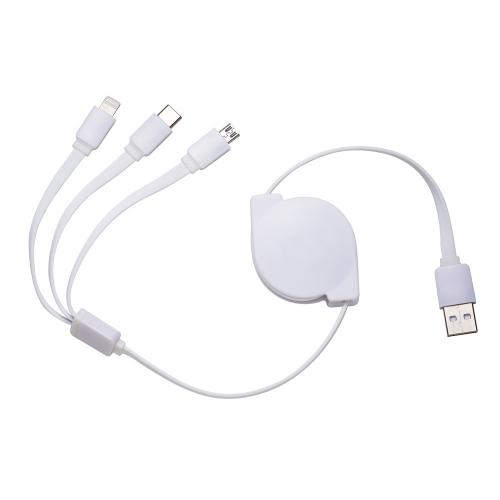 Cabo de Dados Retrátil USB 3 em 1