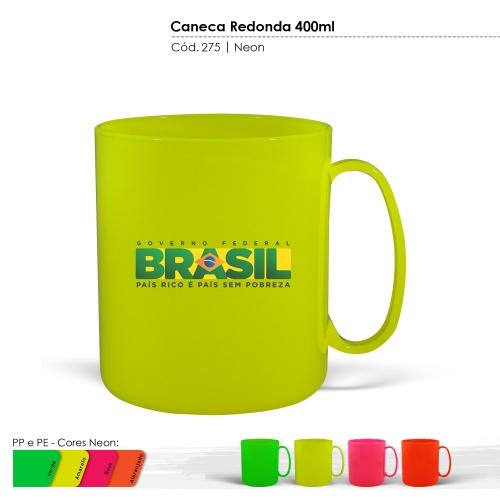 Caneca Redonda de 400ml de plástico com certificado de atoxicidade e BPA Free. Cores Neon