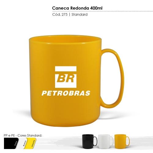 Caneca Redonda de 400ml de plástico com certificado de atoxicidade e BPA Free. Cores sólidas