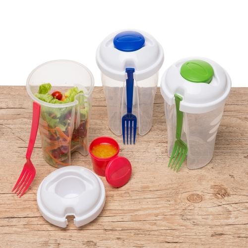 Copo Salada 850ml com Garfo e Suporte para Molho