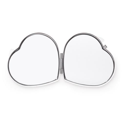 Espelho Metal Duplo Coração com Aumento