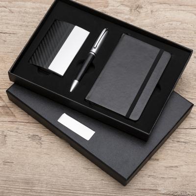 Kit executivo com moleskine porta cartão e caneta