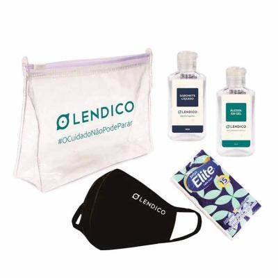 Kit Higiene Pessoal Personalizado com Álcool em gel, Máscara, Sabonete Líquido e Lenço de papel