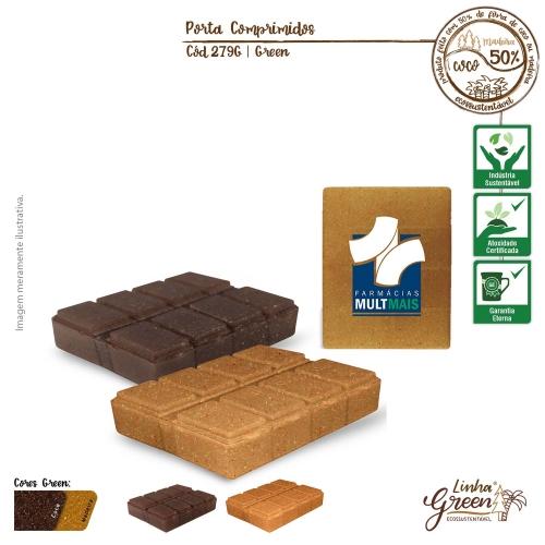 Porta Comprimidos Ecológico de fibras da casca do coco ou de resíduos de madeira