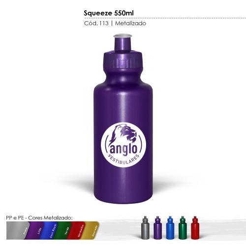 Squeeze 550ml Resistente e Flexível com Bico de PVC Cristal cores Metalizadas