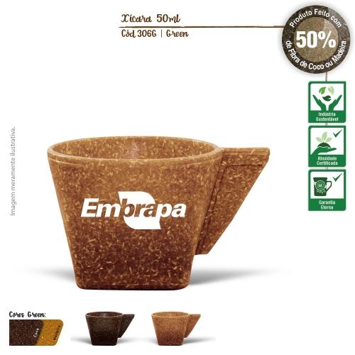 Xícara de Café sem Píres Ecológica 50ml de fibras da casca do coco ou de resíduos de madeira