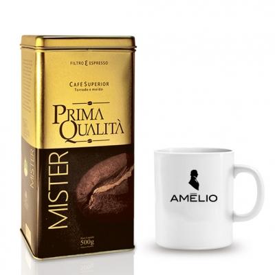 Kit café gourmet em lata e caneca personalizada