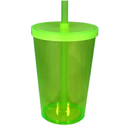 Copo com Canudo Mega Drink 550 ml Cores Diversas