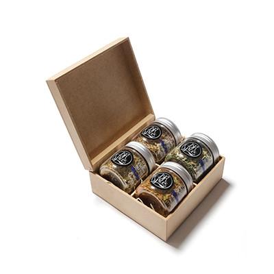 Kit com 4 temperos especiais gourmet com caixa de MDF