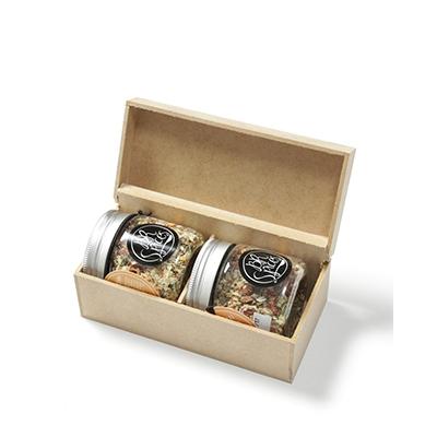 Kit Gourmet com temperos especiais com caixa de MDF (vários sabores)