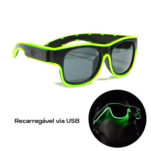 Óculos Neon LED Recarregável via USB - Lente Escura - Hutz