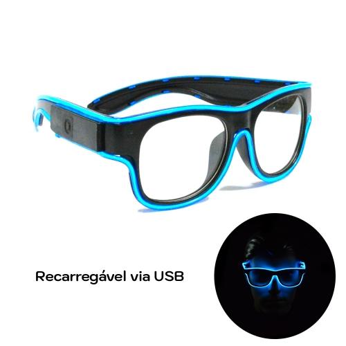 Óculos Neon LED Recarregável via USB - Lente Transparente - Hutz
